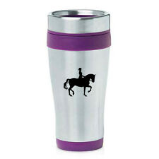 Stainless Steel Insulated 16 oz Travel Coffee Mug Cup Dressage Horse with Rider