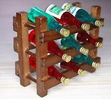 Flaschenregal 9 Flaschen Wein  Miniatur 1:12 Puppenstube Puppenhaus Diorama