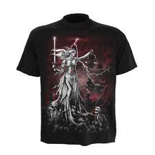 Spiral Gothic Goth Punk Fantasy T-Shirt - Blind Justice Skelett Justitia Schwert