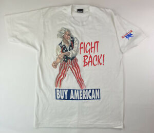 Vintage Fight Back Buy American Uncle Sam T-Shirt, Sz Large (FITS S/M) Rednecker