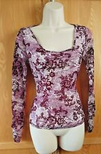 Next size 8 Purple Long Sleeved Velvet Floral Low Cut Stretchy Top T1
