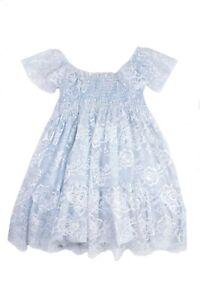 Kate Mack Chiffon Kleid hellblau mit 3D Blumen für Mädchen Sommer 19 Neu B133LG