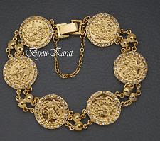 24 Karat GP Tugra Gold Armband Türkisches Modell Strass Altin Kaplama Bilezik