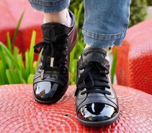 Authentic Chanel Black Lambskin Leather CC Logo Cap Toe Sneakers EU 40 US 10