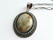 925 Sterling Silver  LONG Necklace Jasper Pendant