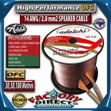 Adelchi High End 50M Roll 14AWg Gauge 100% Pure Copper OFC Speaker Cable Wire