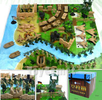 150 pcs Military Playset Box Plastic Toy Soldiers Army Men Figures & Accessories