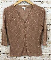 J Jill shirt womens medium vneck blush pink vneck button front 3/4 slv print H3