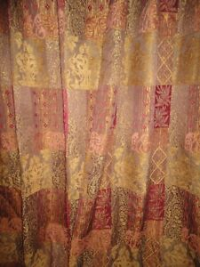 CROSCILL CASSIDY WEST OPULENCE GOLD UMBER RED CHENILLE (2) DRAPERY PANELS 53X96