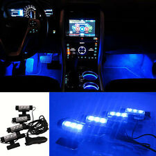 4x 3LED Car Charge LED Interior Decorative Light Lamp Blue Color Decor Floor