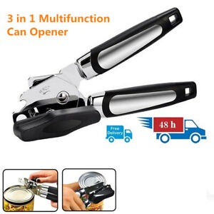 3 in 1 Manual Stainless Steel Can Opener Ergonomic Side Cut Safety Bottle Opener