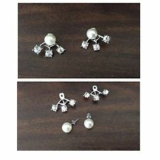 Double Sided Stud Earrings Cuffs Silver Filled Clear Gem White Faux Pearl UK