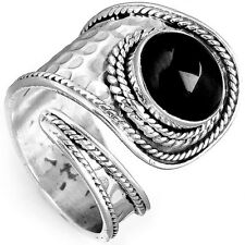 Solid 925 Sterling Silver Ring Onyx Gemstone Handmade Adjustable Size 5-8