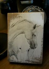 horse original watercolour painting wooden wall hanging freestanding FREE UKPOST