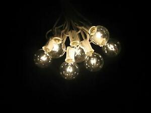 100 Foot Globe Patio String Lights - Set of 100 G40 Clear Bulbs with White Cord