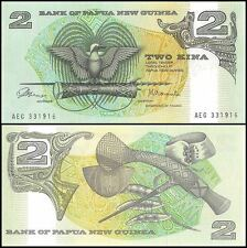 Papua New Guinea P5a, 2 Kina, Bird of Paradise, drum, spear / artifacts 1981 UNC