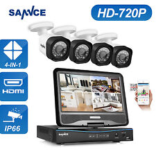 "SANNCE 8CH 10.1"" LCD Monitor DVR HD 720P In/Outdoor Home Security Camera System"