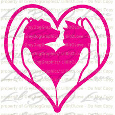 Puppy Kitten in Hands Heart Vinyl Decal Rescue Pets Sticker Dog Cat