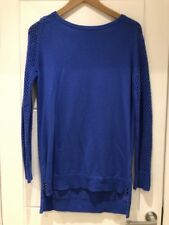 THEORY Royal Blue Perforated Knit Wool Sweater Jumper Tunic S P Small