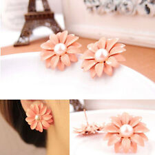 Pink Daisy Flower Aster Petals Stud Earrings 25mm in Circumference
