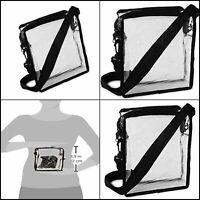 Clear Cross-Body Messenger Shoulder Bag Stadium Approved Transparent Purse, PVC