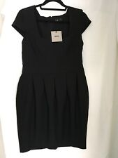 Size 14 Asos Black Capped Sleeve Dress NWT