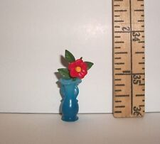 FASHION DOLL MINIATURE RE-MENT BLUE VASE AND FLOWER ACCESSORY