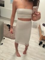 Missguided white cream pencil bodycon boob tube skirt size 4 6 8