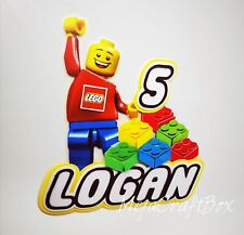 Lego 3D Inspired Personalised Cake Topper add Name and add Age Lego Birthday