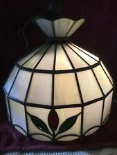 Vtg  Stained Glass Pendant Globe Light Ceiling Fixture Hanging