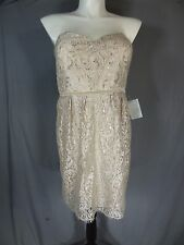 Jenny Yoo Collection Beige Lace Metallic Strapless Dress Size 16