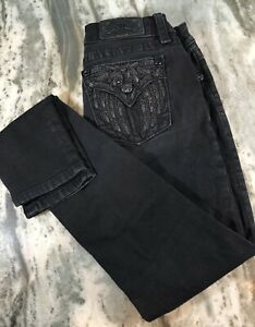 Miss Me Signature Skinny Jeans Size 28 All Black With Angel Wings 30.5x33.5