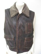 ORVIS Spirit Vintage Brown Leather Vest Removable Collar Size LARGE