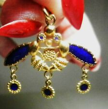 Minoan Cretan Malia Bee-18K Solid Gold & Blue Enamel Pendant-Handmade- Greece