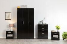 3 Piece High Gloss Bedroom Sets - Wardrobe Chest Bedside Various Colour Options Galaxy Black