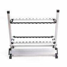 Fishing Rod Rack Holder Stand 24 Slots Alloy Metallic Silver with Black Foldable