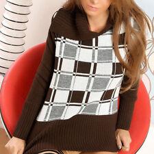 Pullover langarm mit großen Umlegekragen Pulli Strickpullover Rauten Print Gr.34
