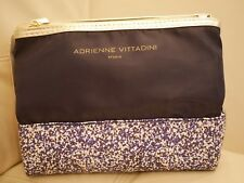 NEWWT ADRIENNE VITTADINI LARGE COSMETIC MAKE UP BAG DUAL PYRAMID BEAUTY BAG NAVY