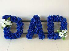 DAD SILK FLOWER FUNERAL FLOWERS LETTERS WREATH MEMORIAL TRIBUTE LETTERING