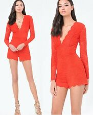 NWT bebe red overlay lace scallop deep v long sleeve top dress romper XXS XS 0