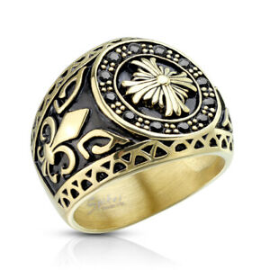 Stainless Steel Gold Celtic Cross CZ Ring Cubic Zirconia Fleur De Lis Biker Ring