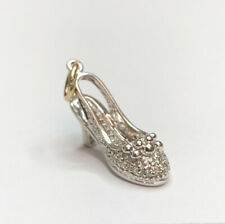Designer 14K White Gold Pave Diamond Stiletto Heel Shoe Pendant Charm #3