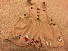 Next Girls Woodland Dungarees 2-3 Years Bunny Robin Mouse Autumn Winter