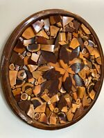 Vtg MCM Reclaimed Wood Chunks Wedges Pieces Art Wall Hanging Picture 19.5""