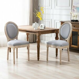 US Upholstered Fabrice French Dining Chair with rubber legs Set of 2 Gray Fiture