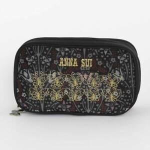 Anna Sui Double Zipper Pouch 0201 Black
