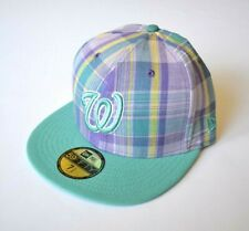 Washington Nationals Cap Hat Purple Teal Plaid Pop New era 59FIFTY Sz 59.6cm