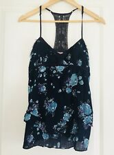 FREE PEOPLE WOMENS SINGLET TOP COTTON FLORAL PRINT SZ 10