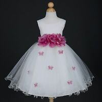 US Seller Ivory/Dusty Rose Wedding Butterfly Petals Pageant Flower Girl Dress