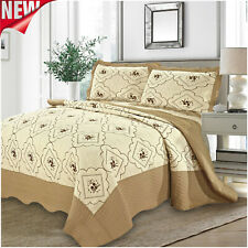 Beige Bedding Set Embroidered Bedspread Quilted Bed Throw Double & King Sizes